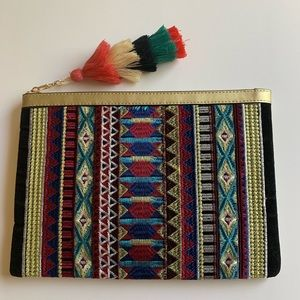Bohemian Gold Multi Color Embroidered Clutch